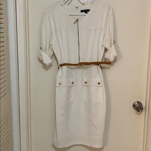 Sharagano white dress with caramel colored belt